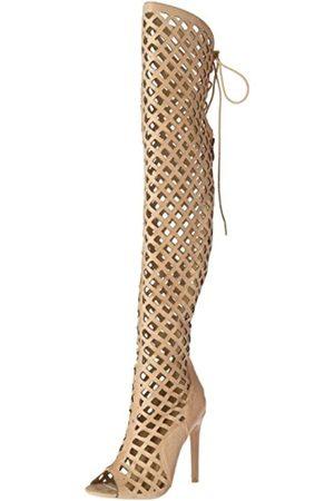 Cr Damen Overknees - Cape Robbin Elnora Damen Peep Toe Laser Cutout Overknee Oberschenkel Hohe Rücken Spitze Krawatte Stiefel, (nude)