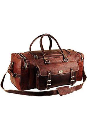 HULSH Herren Gym Sport Übernachtung Weekender Tasche Leder Reisetaschen für Männer Vintage Leder Seesack Frauen Handgepäck Reisetasche Holdall Bag 24 Zoll (24 Zoll)