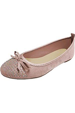 Gold Toe Damen-Ballerinas aus Microsuede mit Strass-Detail, gepolsterte Einlegesohlen, einfaches An- und Ausziehen, Pink (blush)