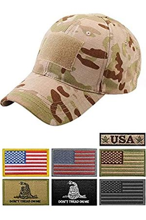 Uphily OCP Camo Army Tactical Operator Multicam Arid Cap Tan Camouflage Military Hat with 7 Patches for Men or Women