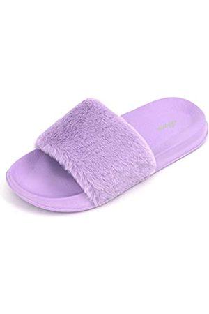 FUNKYMONKEY Damen Slides Faux Pelz Süße Flauschige Hausschuhe Komfort Flache Sandalen