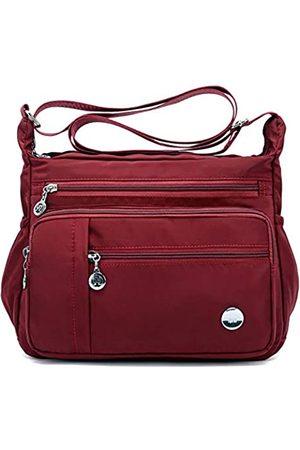 KARRESLY Karressly Damen-Schultertasche, Reise-Handtasche, Messenger-Umhängetasche, Nylon-Tasche mit vielen Taschen, Violett (wein)