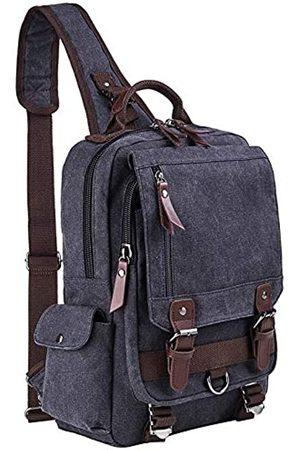 El-fmly Canvas Crossbody Messenger Bag für Männer Frauen Sling Schulter Rucksack Reise Rucksack - - Large