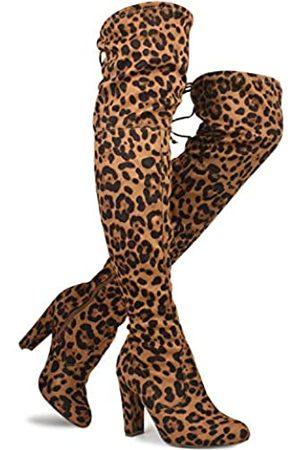 Premier Standard Damen Overknee-Stiefel Sexy Overknee Pullon Boot Trendy Low Blockabsatz Schuhe Bequeme Stiefel, (Premium Camel Leopard Su*.)