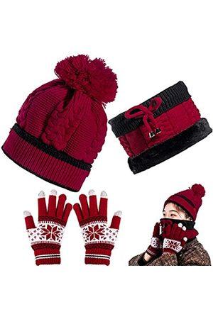 Whaline Strickmütze Schal Handschuhe Set Touchscreen Schneeflocke Handschuhe Frauen Slouchy Fäustling Set mit Fleece gefüttert - - Einheitsgröße