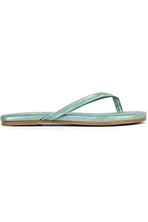 Yosi Samra Rivington Flip-Flops für Damen, Veloursleder, mit Folie, Gr�n (graugrün)