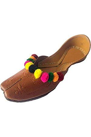 Step N Style Damen Flache Jutti Flache Ballett-Flip-Flops Khussa-Schuhe mit Perlen, Braun (Naturbraun)
