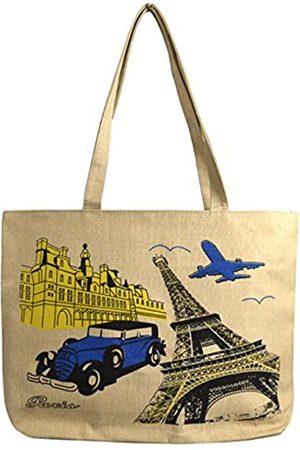 Peach Couture Damen Laptop- & Aktentaschen - Denim Wiederverwendbare Baumwoll-Leinen-Handtasche mit Reißverschluss für Laptop und Strand, Schultertasche für Damen und Herren, (Paris )