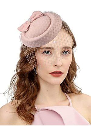 Cizoe Fascinator Hüte für Frauen 20er 50er Jahre Vintage Pillbox Hut Kentucky Derby Fascinators Blume Schleier Hochzeit Party Hut Tee Hut - - Einheitsgröße