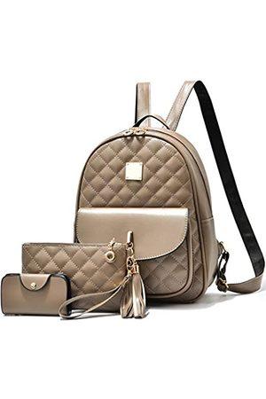 I IHAYNER Damen Rucksack 3 Stück Mode PU Leder Schultertaschen Mode Damen Reise Bookbag, Braun (khaki)