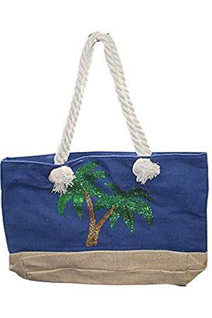 Needzo Blaue Tragetasche mit Pailletten, Palmen, Strand oder Pool, übergroße Geldbörse mit Seilriemen, 53,3 x 35