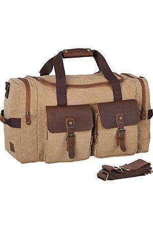 WOWBOX Reisetasche für Herren und Damen, echtes Leder, Segeltuch, Übernachtungstasche, Gepäcktasche, Herren, Flugtasche