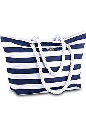 Bag&Carry Damen Handtaschen - Große gestreifte Strandtasche aus Segeltuch – Reißverschluss oben – wasserdichtes Futter – Tragetasche für Fitnessstudio, Strand