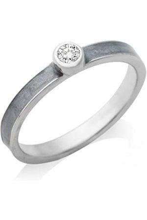 Miore By Joy Damen Ring 925 Sterling Silber Zirkonia Solitär und Emaille grau Gr.52 JA166R2