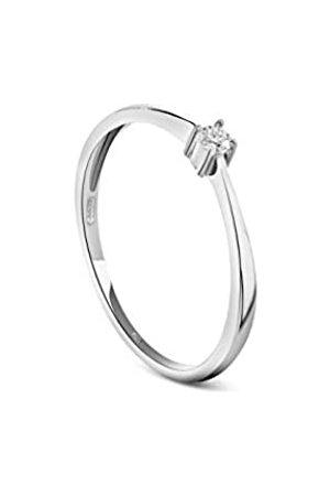 MIORE Schmuck Damen 0.05 Ct Diamant Verlobungsring mit Solitär Brillant Ring aus Weiß 9 Karat/ 375