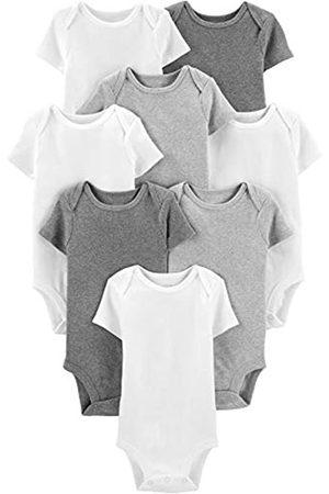Simple Joys by Carter's 8-Pack Short-Sleeve Bodysuit undershirts, White/Light Medium Heather Grey
