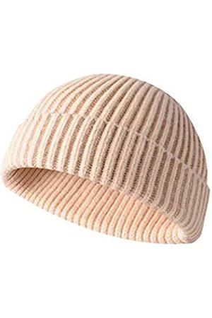 Y&J Herren Caps - Winter Knit Cuff Beanie Cap Trawler Beanie Mütze Kurz Fisherman Skull Cap Wolle Beanie für Herren Damen - Beige - Einheitsgröße
