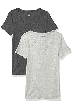 Amazon Essentials Damen fashion-t-shirts 2-pack Slim-fit Short-sleeve V-neck T-shirt, Anthrazit/Hellgrau Heather