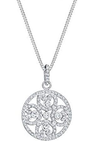 Elli Premium Damen-Kette mit Anhänger Ornament Herz 925 rhodiniert weiß Facettenschliff Swarovski Kristalle 45 cm 0101152417_45
