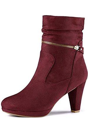 Allegra K Damen Pumps - Damen Wildleder Westernabsatz Reißverschluss High Heels Plateau Boots Stiefel 40