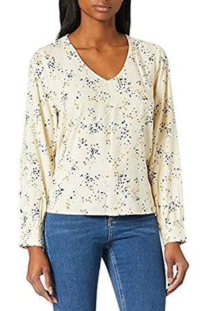 TOM TAILOR Damen 1024847 Longsleeve Bluse, 26429-Creme Dot Print
