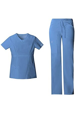 Cherokee Women's Workwear Core Stretch V-Neck Scrub Top 24703 & Women's Drawstring Cargo Scrub Pant 24001 Medical Scrub Set