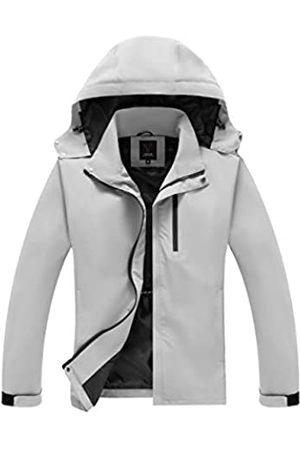 VICALLED Herren Shell Jacke Leichte Wasserdicht Kapuze Outdoor Regenmantel Windbreaker Jacke für Wandern Reisen - Grau - XX-Large