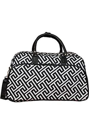 "World Traveler Unisex-erwachsene 21"" Carry-on Shoulder Tote Duffel Bag-Greek Key H Black White Seesack"