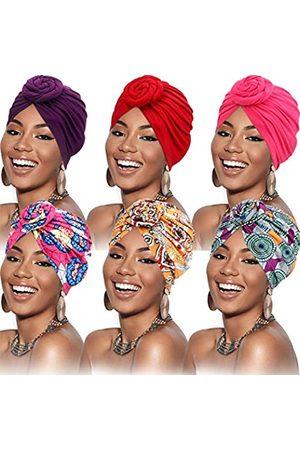 SATINIOR 6 Stück Turban für Damen Afrikanisch Turban Blume Knoten Vor-Gebunden Kappe Mütze Kopfbedeckung