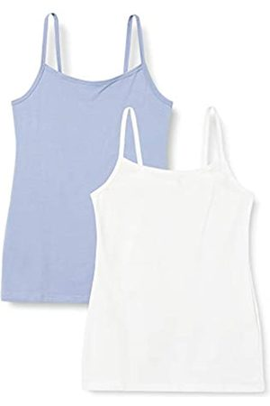 IRIS & LILLY Unterhemd Damen mit Spaghettiträger, Body Smooth, enge Passform 2er Pack, 1 x Weiß, 1x Blue Denim