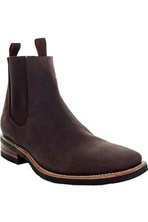 Soto Boots Herren Dallas Square Toe Chelsea Stiefeletten H6001, Braun (dunkelbraun)