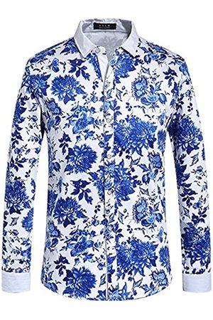 SSLR Herren Trachtenhemden - Hawaii-Hemd für Herren, Blumenmuster, Baumwolle, Knopfleiste