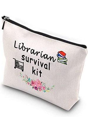 Generic WCGXKO Bibliothekarische Überlebensausrüstung, mit Reißverschluss, Make-up-Tasche, Reisetasche für Bücherwurm