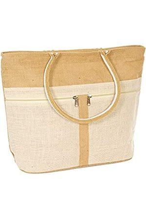 RGS Damen Shopper -   Jute-Tragetasche für Damen – Große Reisetasche aus Segeltuch mit 2 Außentaschen mit Reißverschluss   Natur