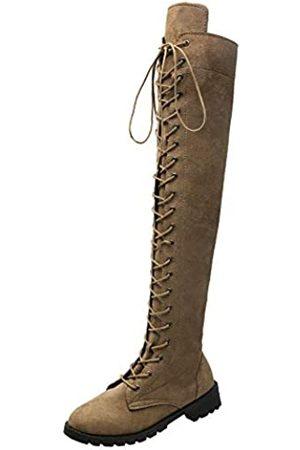 YING LAN Damen Overknee Low Heel Lace Up Hohe Stiefel, Braun (khaki)