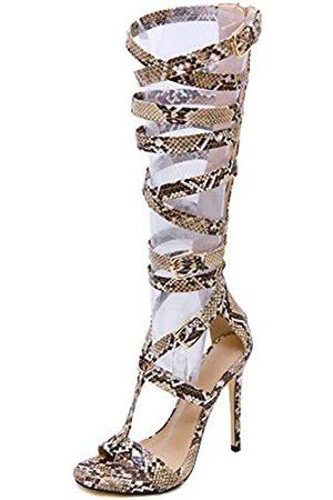Pofameeta Damen-Sandalen, Gladiator, hoher Absatz, sexy, Schlangenoptik, offener Zehenbereich, Reißverschluss, Übergröße, modisch, Sommerstiefel, kniehoch