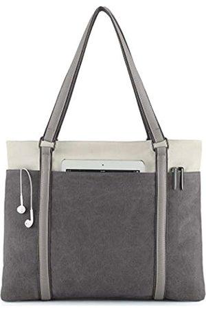 Wxnow Damen Laptop Tragetasche Canvas Handtasche Geldbörse Schultertasche, Grau (dunkelgrau)