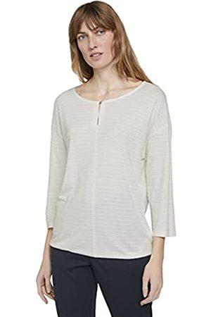 TOM TAILOR Damen 1024729 Structure T-Shirt, 10315-Whisper White
