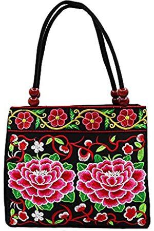SAKUXI Damen Strandtaschen - Bestickte Canvas Handtaschen Hobo Taschen Vintage Schultertaschen Strandtasche Boho Floral Tasche Reisetasche Einkaufstasche für Frauen, Schwarz (Red Flower)