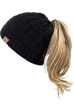 Alepo Damen Mütze mit Pferdeschwanz-Loch, warm, trendig, gestrickt