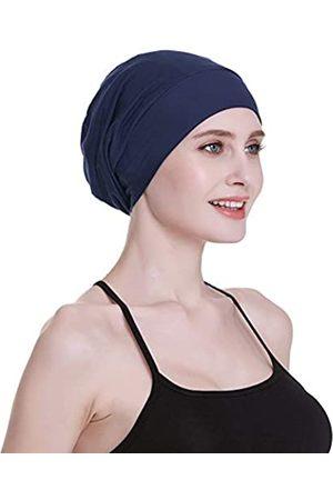 FocusCare Damen satin gefüttert schlaf slouchy cap curly slap kopfbedeckung geschenke für kraus haar eine größe passt meistens marine