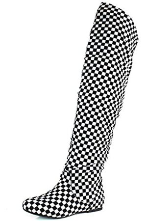 DailyShoes Damen Fashion-Hi Overknee Oberschenkel Hohe Stiefel, (Plaid Bw)