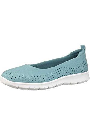 Clarks Women's Step Allena Sea Loafer Flat, Aqua Microfiber