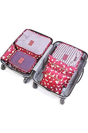 JARITTO 6 Stück Reiseorganizer Koffer Gepäck Verpackung Würfel Aufbewahrungstasche Kleidung waschbar Blumen Rot