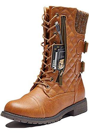 DailyShoes Damen Militärstiefel mit Schnalle, kniehoch, exklusives Kreditkartenfach, vorne mit Nieten, (Tan Pu Evelyn01)