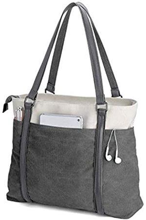 BAG WIZARD Damen Laptop-Tragetasche für die Arbeit, leicht, aus Segeltuch, 39,6 cm (15,6 Zoll), Grau (Dunkelgrau)
