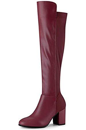 Allegra K Damen-Stiefel, runder Zehenbereich, kniehoch, klobiger Absatz, Rot (burgunderfarben)