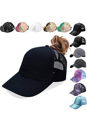 Bocianelli Damen Baseballkappe mit Glitzer, Netzstoff, Pferdeschwanz, Hut für Frauen, hoher unordentlicher Dutt