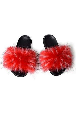 yUhe2018Cw Damen-Pantoffeln aus Kunstfell, weich, pelzig, Kunstfell, für den Außenbereich, mehrfarbig, (Faux Raccoon Fur Red)