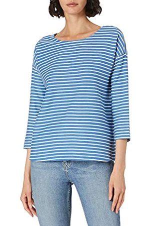 TOM TAILOR Damen 1023366 Loose Fit T-Shirt, 26927-Mid Blue Melangé White Stripe
